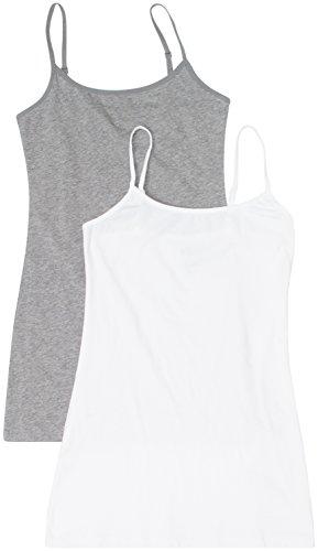2 Pack Active Basic Women's Basic Tank Top Small H Gray, White
