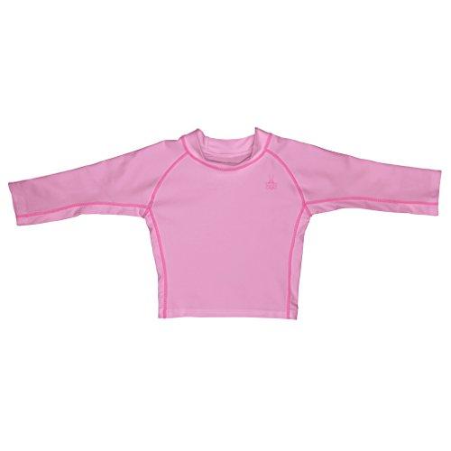 I play. Baby Long Sleeve Rashguard Shirt, Light Pink, 18 Months