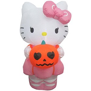 Halloween Decoration Lawn Yard Inflatable Airblown Hello Kitty With Pumpkin 3' Tall front-416343