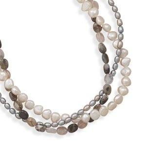 Sterling Silver 17 + 2 Inch Extension Triple Strand Cultured Freshwater Pearl and Quartz Necklace