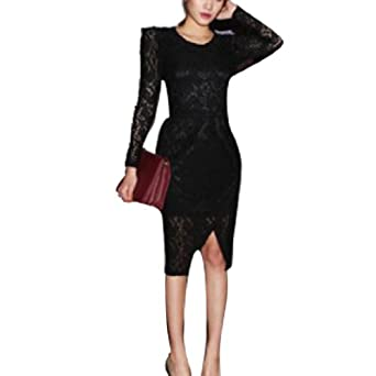 Long Black Lace Dress on Woman Lace Sheer Long Sleeve Padded Shoulder Dress Black Xs  Amazon Co