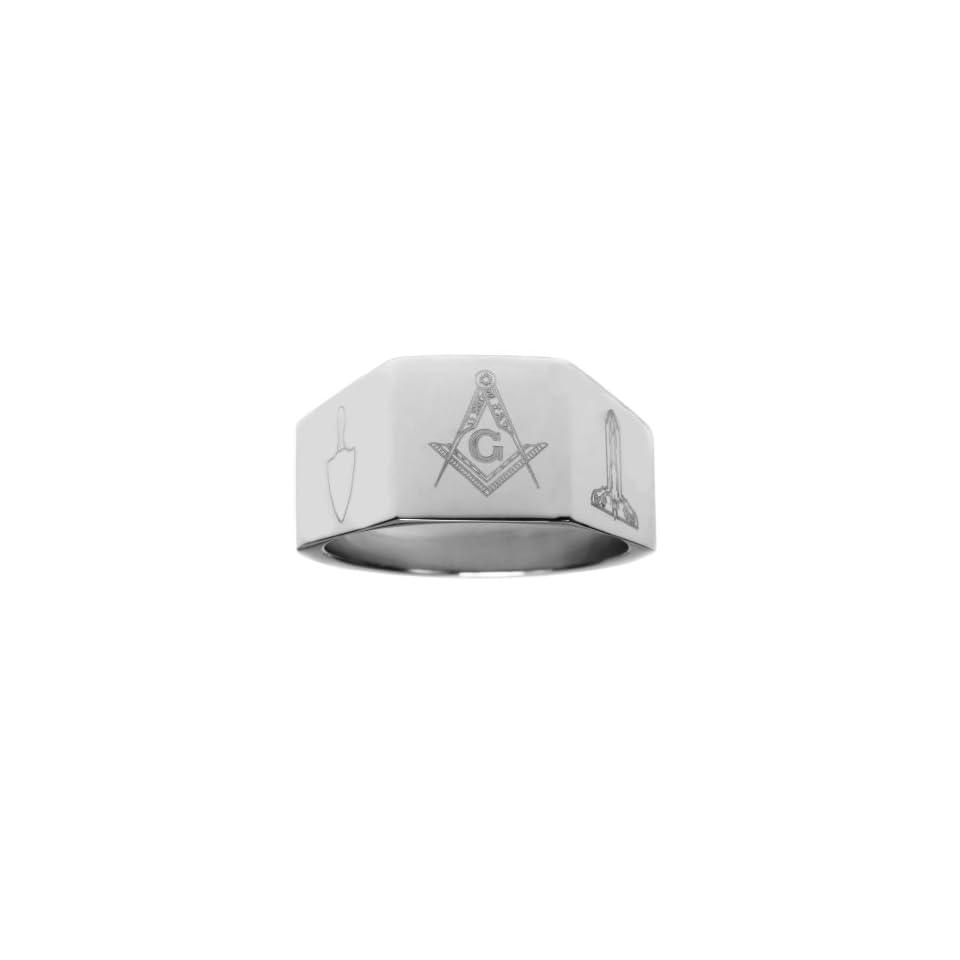 Mens 12mm Stainless Steel Masonic Freemason Mason Blue Lodge Ring (Size 8)