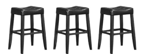 "3 29"" Saddle Back Wooden Black Kitchen Bar Stools"