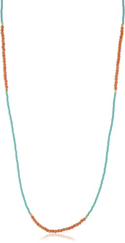 Chibi Jewels Turquoise Glass Bead and Pink Coral Section Necklace