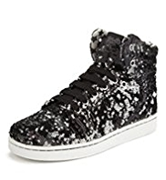 Retro Style Sequin Embellished High Top Trainers