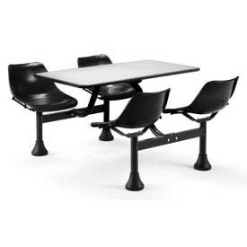 OFM Cluster Table with Stainless Steel Top - 30 x 48, Black