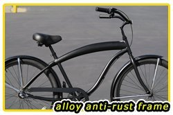 Aluminum Frame, Fito Modena EX Alloy Shimano 3-speed men's - All Matte Black, Beach Cruiser Bike Bicycle Micargi Firmstrong Schwinn Nirve Style