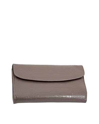 Bey-Berk Grey Croco Leather Multi-Compartment Jewelry Clutch