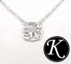 """Initial """"K"""" Monogram Silver 16 """" Necklace In A Gift Box By Jewelry Nexus front-225640"""