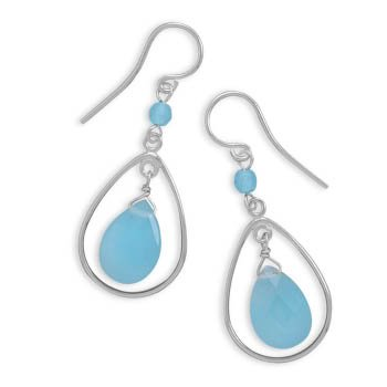Cut Out Pear Shape with Blue Jade Drop Earrings on French Wire