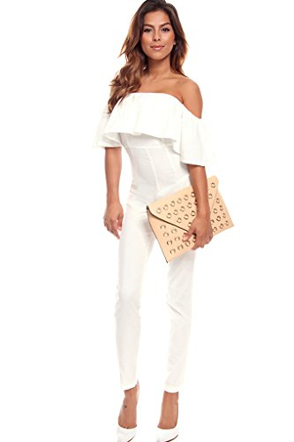 Lolli Couture Off The Shoulder Jumpsuit S White front-817293