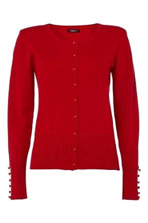 Roman Women's Plain Button Detail Cardigan Red Size 22