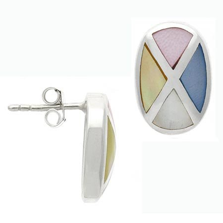 Sterling Silver .925 Genuine Mother of Pearl, Pink, Blue, and Yellow Shell Stone Inlay Mosaic Earrings