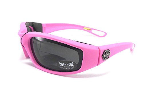 Choppers Womens Pink Padded Motorcycle Biker Glasses Goggles - Several Lens Colors Available! (Pink - Smoke Lens) (Motorcycle Accessories For Women compare prices)