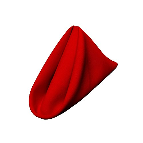 LA Linen 100-Percent Polyester Poplin Napkins, 17-Inch by 17-Inch, Red, 10-Pack (Linen Napkins Red compare prices)