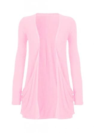 Funky Boutique Ladies Plus Size Pocket Long Sleeve Cardigan 16-26 : Color - Baby Pink : Size - 16-18 LXL