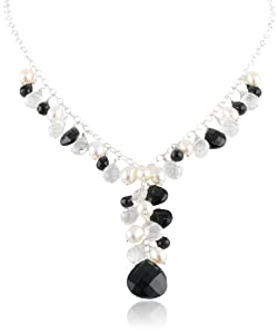 Sterling Silver Genuine Faceted Black Onyx Briolette's Freshwater Pearl Multi-Drop