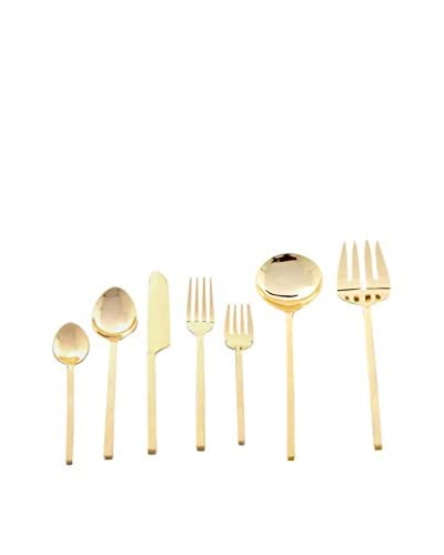 Cunill Block Handle 42-Piece Flatware Set, Gold