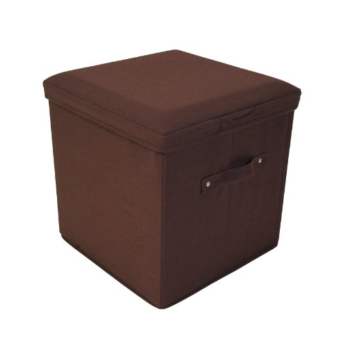 Seat Pad Folding Storage Ottoman. Canvas cover - Brown