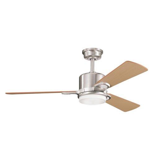 Kichler Lighting 300017Bss Celino 48In Ceiling Fan, Brushed Stainless Steel Finish With Reversible Light Oak/Medium Oak Blades And Cased Opal Glass Light Kit front-896553