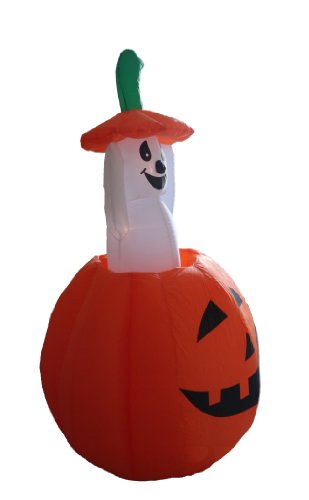 Foot animated halloween inflatable pumpkin and ghost