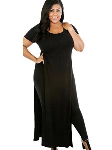 New2World Women's Long Tshirt Double Deep Side Split Slit Maxi Dress (Asian XL, Black) (Maxi Double Split compare prices)