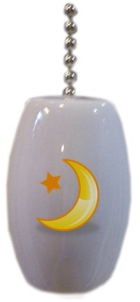 Celestial Yellow Moon Ceramic Fan Pull front-782535