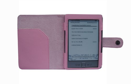 HappyZone - Portfolio Leather Case Cover For Amazon Kindle Wi-Fi, 6 - Inch E Ink Display Newest 2011 Model , 4th Generation Pink Discount !!