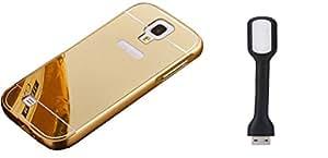 Novo Style Back Cover Case with Bumper Frame Case for Samsung I9500 Galaxy S4 Golden + Mini USB LED Light Adjust Angle / bendable Portable Flexible USB Light