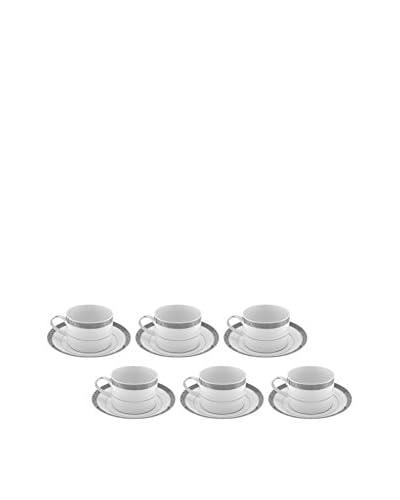 10 Strawberry Street Set of 6 Paradise Platinum 8-Oz. Tea Cups & Saucers
