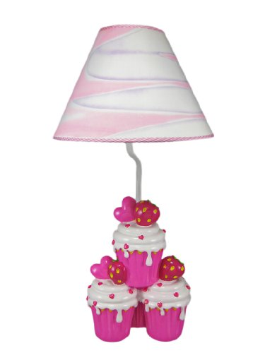 Adorable Hot Pink Strawberry Cupcake Table Lamp front-1063111