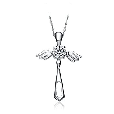 Womens sterling silver cross pendants christian necklaces jewelry cross angel wings pendant necklace aloadofball Image collections