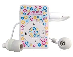 Flower Print Clip MP3 Player with 16GB TF Card Reader (White) by AHMET