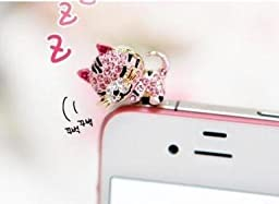 Super Crystal Dust Plug-earphone Jack Accessories Pink Crystal Cat with Flexible Head/ Cell Charms / Dust Plug / Ear Jack for Iphone 4 4s / Ipad / Ipod Touch / Other 3.5mm Ear Jack