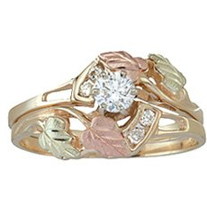 10k Gold Black Hills Diamond Wedding Set from Coleman with Engagement Ring & Wedding Ring (.50 carat Center Diamond) - Ring Size 4