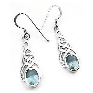 Sterling Silver Celtic Knot Blue Topaz Hook Earrings