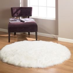 Cream Faux Fur Sheepskin Modern Style Rug Non Slip Circle / Moon Shape Machine Washable 145cm Diameter from Bedding Online