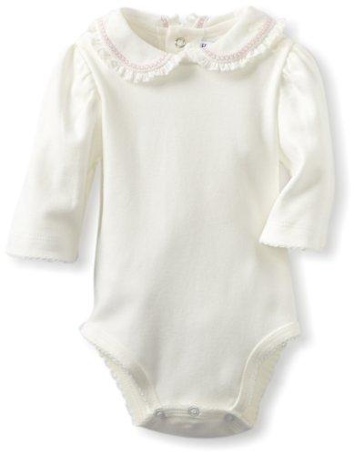 e716e22fdb7ee3 Hartstrings Baby Girls Newborn Long Sleeve Peter Pan Collar Body Suit  Marshmallow 3 6 Months