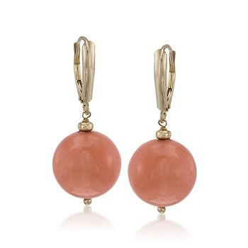 14mm Coral Drop Earrings in 14kt Yellow Gold
