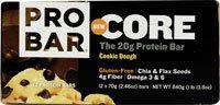 ProBar Core Protein Bar Gluten Free Cookie Dough -- 12 Bars