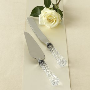 Gorham Lady Anne 2 Piece Crystal and Stainless Dessert Set * Cake Knife & Pie Server *