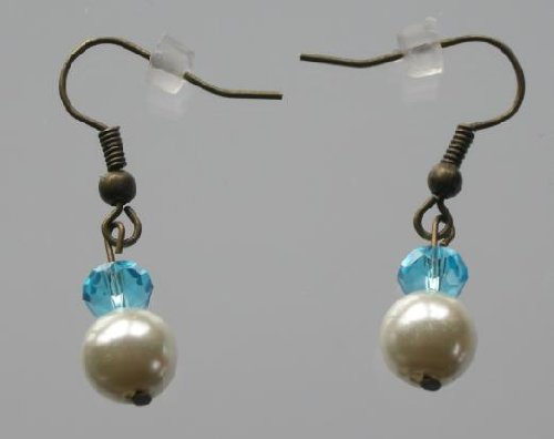 Hand Made Earrings with White Glass Pearls and Light Blue Glass Crystals