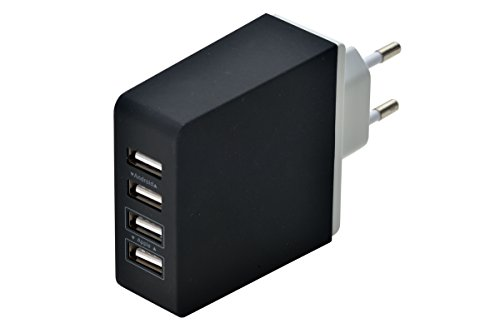 Netzteil-Multi-Port-USB-by-aricona-Smartphone-Ladestation-fr-paralleles-und-schnelles-Laden-mehrere-Handys-Ladekabel-Adapter-in-schwarz-4-Port-Charger