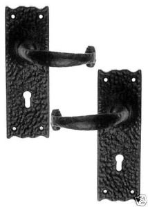 Rustic Door Handles with Key Hole Black Cast Iron from OriginalForgery