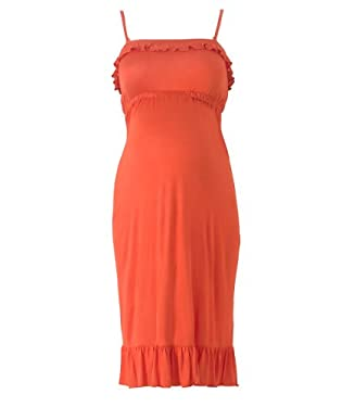 Maternity Ruffle Edge Dress with Detachable Straps