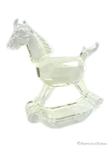 NEW GREAT Lead Cut Crystal Rocking Horse Figurine Baby Gift LIMITED Edition