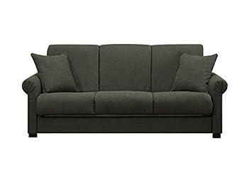 Portfolio Rio Convert-a-Couch Basil Grey Linen Futon Full-size Sofa Sleeper