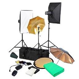 CowboyStudio Complete Portrait Monolight Flash Lighting Kit - 3 Studio Flash/Strobe, 2 Softboxes, 3 Backdrops, 1 Barndoor, 1 Wireless Trigger, 1 Snoot, 1 Reflector, 1 Carry Case