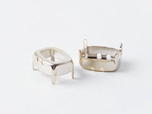 スワロフスキー 石座【#4568 OpenBack(約14x10mm)2個】ロジウムカラー 爪付きセッティング アクセサリーパーツ デコ レジン