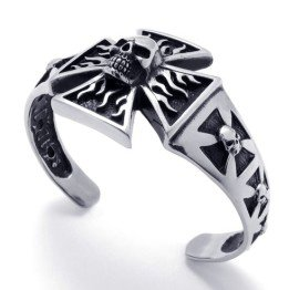 Stainless Steel Angry Skull Iron Cross Cuff Bangle